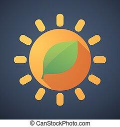 zon, blad, pictogram