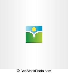 zon, boek, natuurlijke , landscape, logo