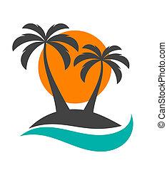 zon, bomen, palm, oceaan