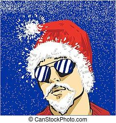 zon, claus, jonge, illustratie, christus, vector, kerstman, bril