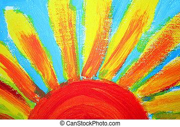 zon, doek, olieverfschilderij, helft