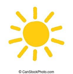 zon, doodle, icon., geverfde