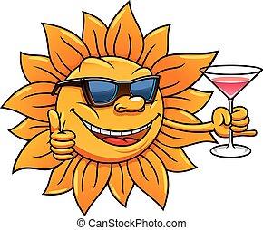 zon, drinkt, zonnebrillen, spotprent, cocktail