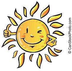 zon, duim boven, spotprent