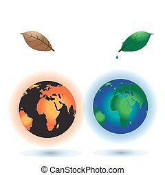 zon, earth., globaal, warming., concept, burning, planeet