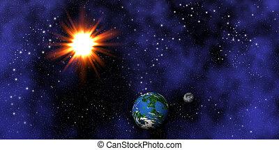 zon, earth., maan