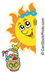 zon, eitjes, pasen, zich het verschuilen