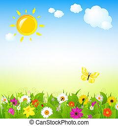 zon, en, bloemen