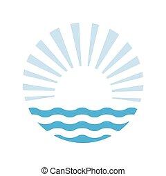 zon, en, de, sea., vector, logo, illustratie