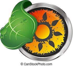 zon, en, groen blad, symbool