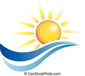 zon, en, water, golven