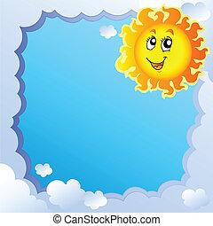 zon, frame, 2, bewolkt