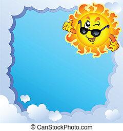 zon, frame, 3, bewolkt