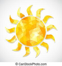 zon, gele, driehoeken, etiket