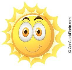 zon, gelukkig gezicht