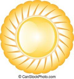 zon, glanzend, gele