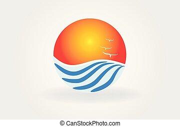 zon, golvend, vector, strand, logo