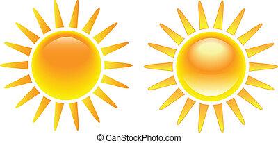 zon, helder, set, burning