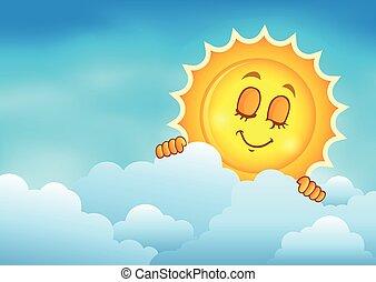 zon, hemel, 4, bewolkt, zich het verschuilen