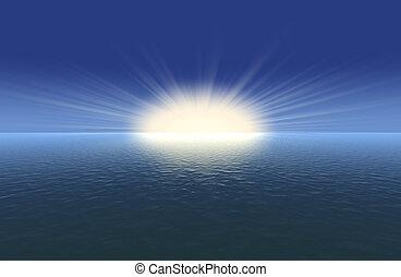 zon, hemel, horizon, zonne, balken
