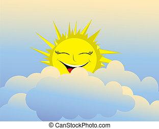 zon, hemel, vrolijke
