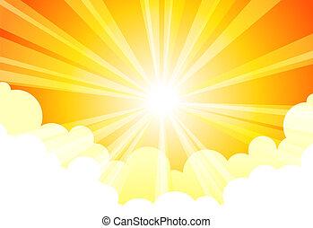 zon, hemel wolk