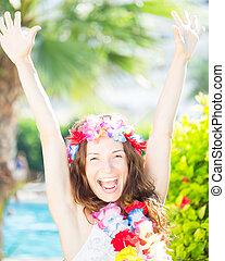 zon, het genieten van, vrouw, strand, vrolijke
