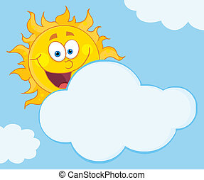 zon, het glimlachen, achter, wolk