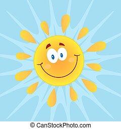 zon, het glimlachen, achtergrond