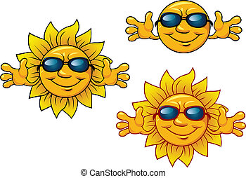 zon, het glimlachen, zonnebrillen, spotprent, karakters