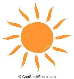 zon, icon., vector, vrijstaand, white.