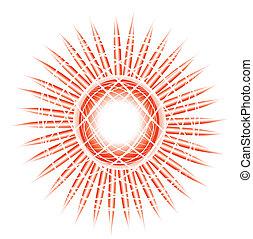zon, -, illustratie, liggen