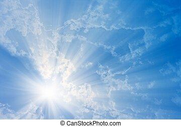 zon, in, blauwe hemel