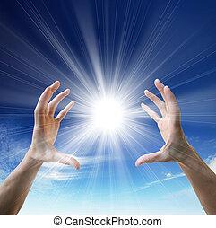 zon, in, de, handen