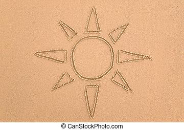 zon, in het zand