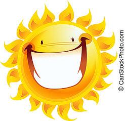 zon, karakter, gele, spotprent, het glimlachen, uiterst, aangeslagen gelukkig
