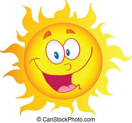 zon, karakter, spotprent, vrolijke