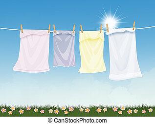 zon, kleren, hangend