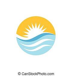 zon, kleurrijke, vector, logo, golven, cirkel