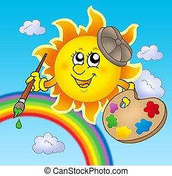 zon, kunstenaar, regenboog