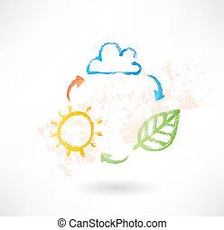 zon, leaf., environment., borstel, wolk, pictogram