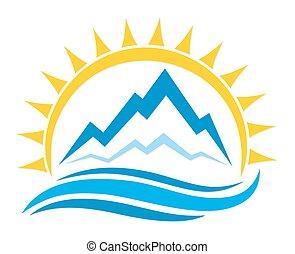 zon, logo, en, bergen.