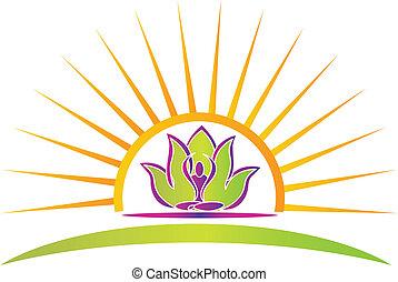 zon, lotus, en, yoga, figuur