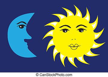 zon, maan