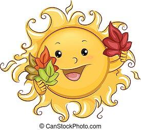 zon, mascotte, met, autumn leaves