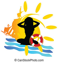 zon, meisje, silhouette, illustratie