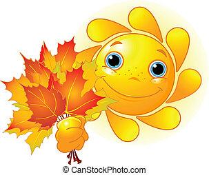 zon, met, autumn leaves
