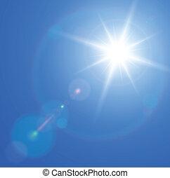 zon, met, de gloed van de lens