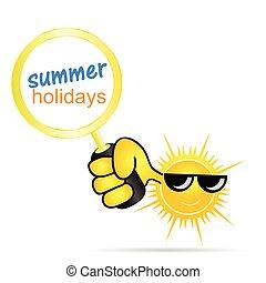 zon, met, feestdagen, zomer, vector