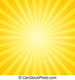 zon, met, stralen, achtergrond